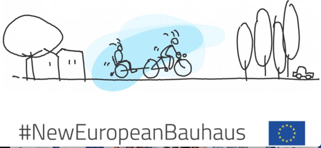 obrazek ilustracyjny europejskiego bauhausu, kreska, drzewa, ludzie na rowerach